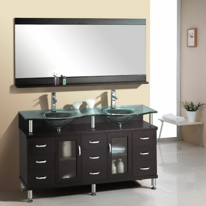 bathroom designs, two asymmetric sinks, over very dark brown cupboard with drawers and white handles, big mirror with black frame