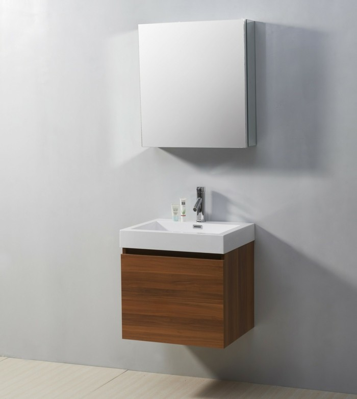 bathroom design ideas, pale grey wall, small wooden cupboard with white sink, mirrored cupboard above