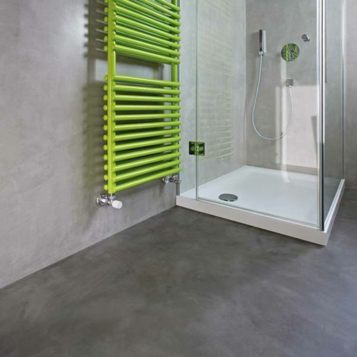 bathroom remodel ideas, room with grey walls and floor, glass shower cabin, and green towel rail
