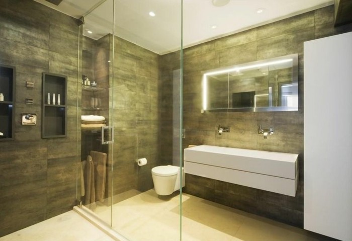 bathroom remodel ideas, khaki colored wall tiles and white floor, large white sink, glass divider with door