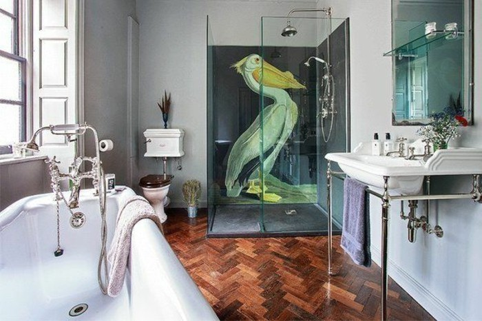 bathroom makeovers, brown and orange laminate floor, glass shower cabin with pelican mural, white tub and sink