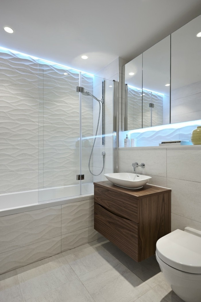 bathroom renovations, white textured wall, pale cream floor tiles, mirrored cupboards and ceiling lights