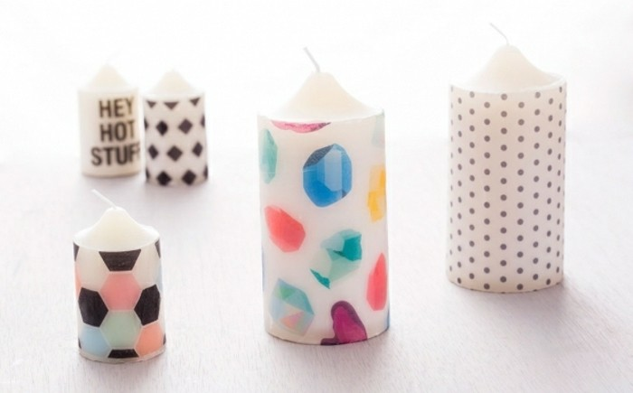 best friend christmas gifts, five handmade candles, decorated with decoupage, with colorful and black and white patterns