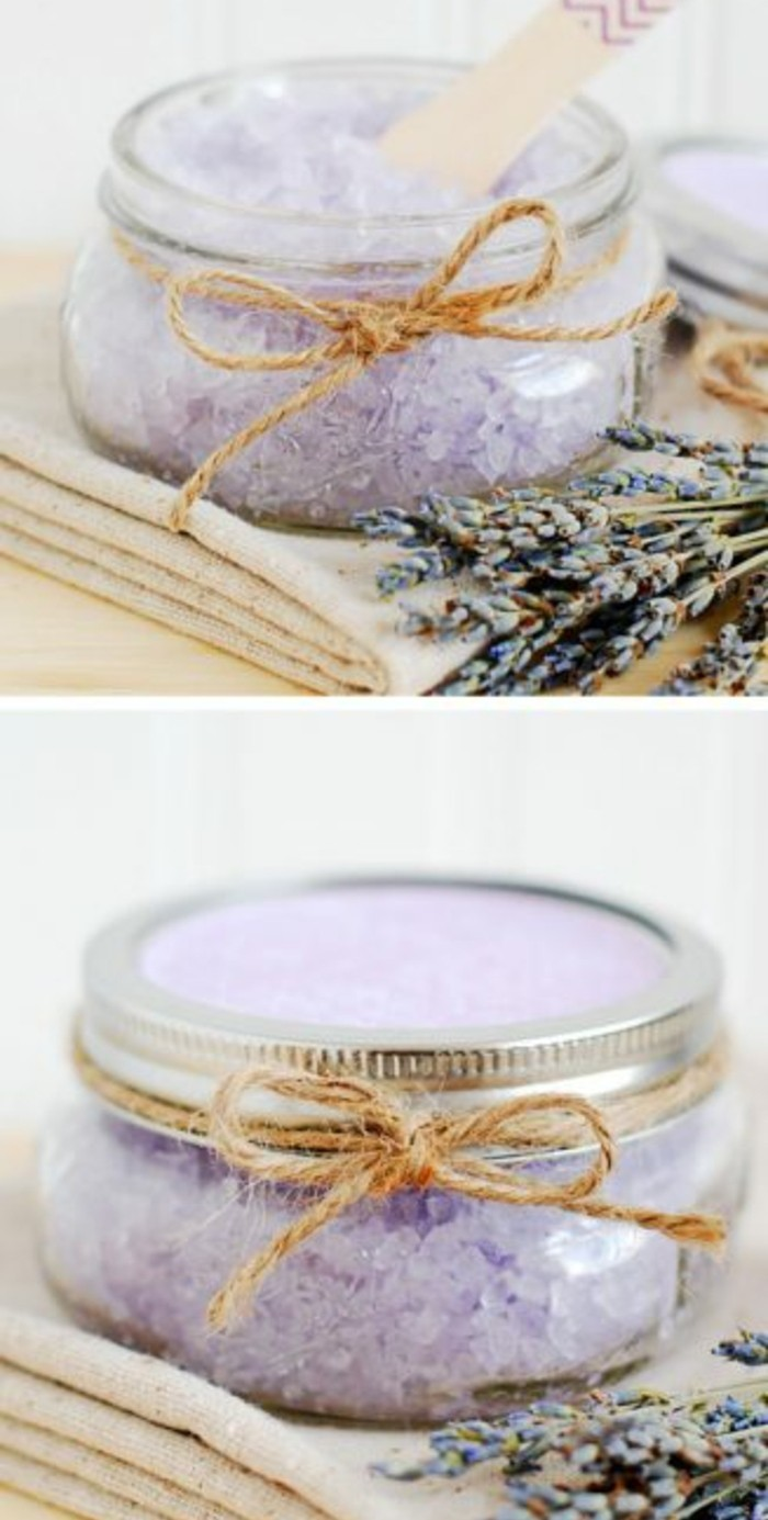 best friend christmas gifts, two images of small glass jar, with and without lid, tied with plain string, containing pale violet sugar scrub, placed near a bunch of lavender