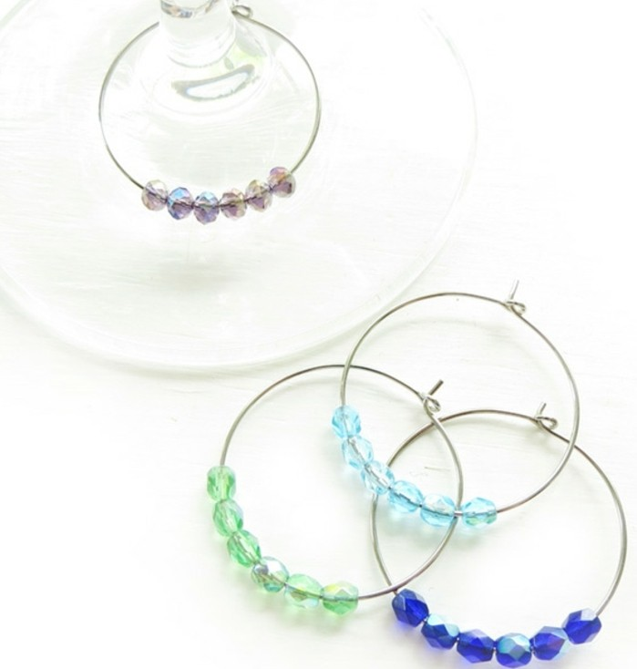 best friend birthday gifts, four bracelets made from wire, decorated with green, pale blue and dark blue, pink sheer stone beads