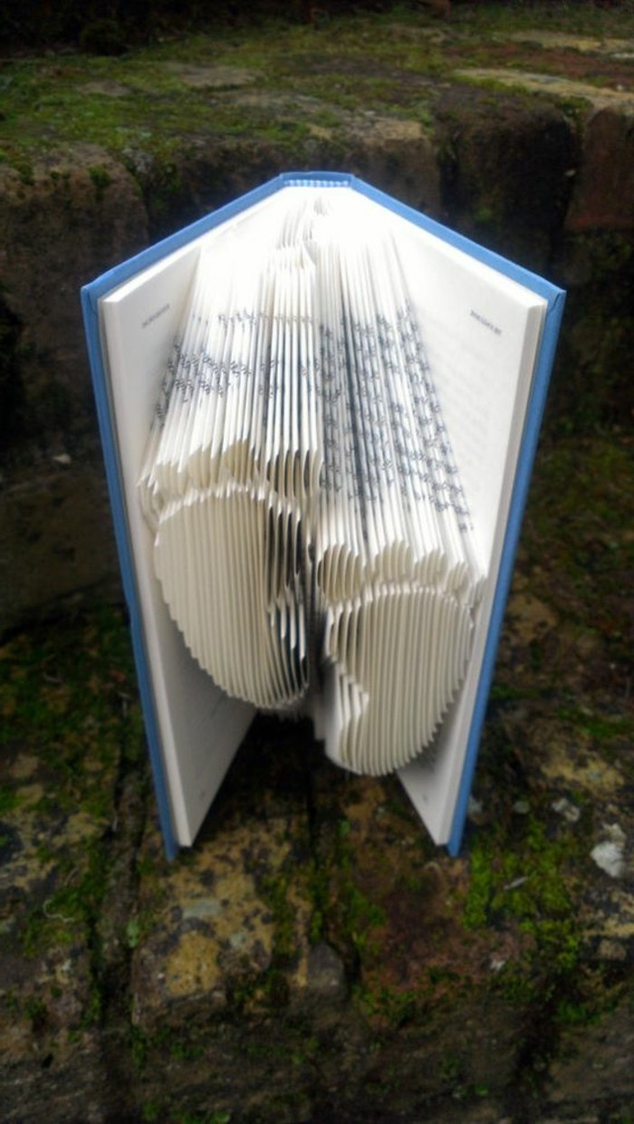 opened book with blue hard covers, containing two baby footprints, made from folded pages, placed on green mossy stone