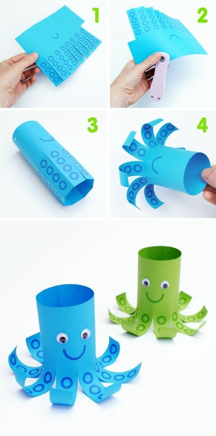 four images showing how to make an octopus paper decoration, step by step, two finished octopi in blue and green