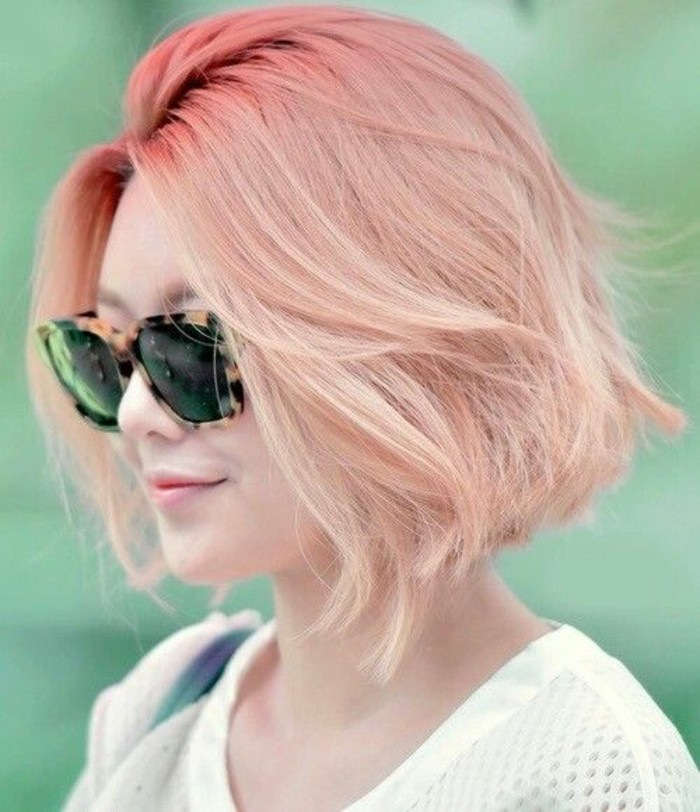 cute short haircuts, woman with pink ombre effect bob, wearing sunglasses with plastic, animal-print frames