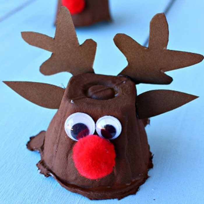 diys for your room, little reindeer ornament, made from brown cardboard cup, decorated with stick-on eyes, paper ears and antlers, and a red pom pom nose