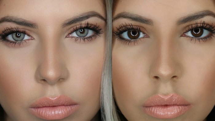 rarest eye color, close up of blonde female twins, with differently colored eyes, in grey and dark brown, wearing nude lipstick and blush