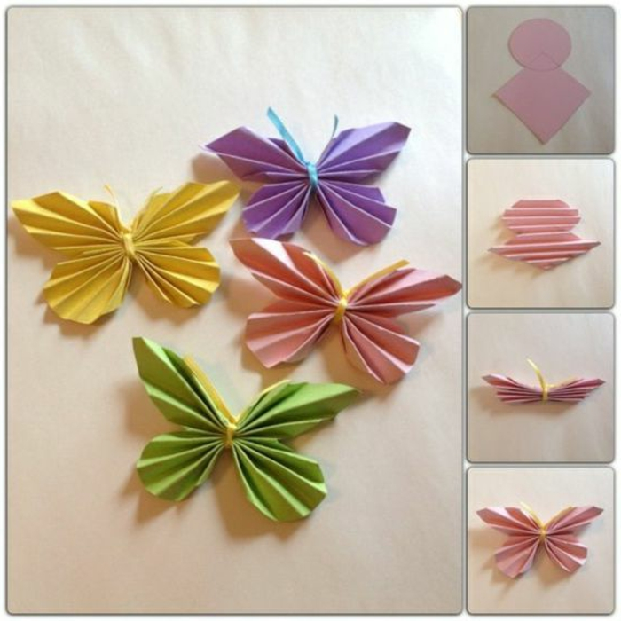 diys to do with friends, four origami butterflies made from yellow and pink, violet and green folded paper, three photos on the side show the folding process step by step