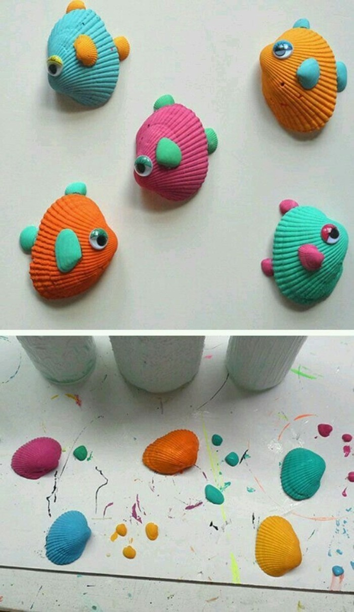fun art projects, five fish made from shells painted in different colors, decorated with smaller shales and stick-on eyes