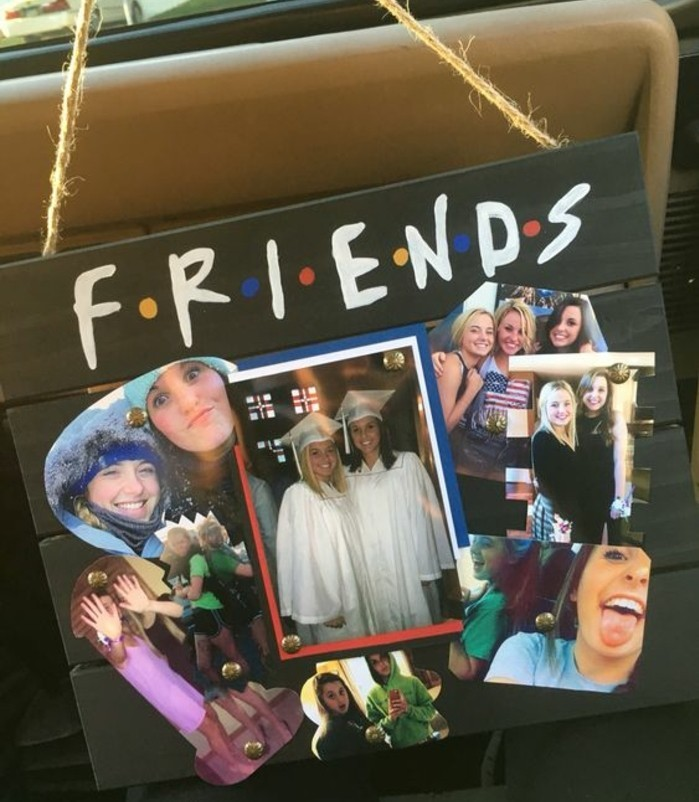 cool gifts for teens, black wooden board, decorated with the logo of the TV series Friends, and a photo collage showing several girls
