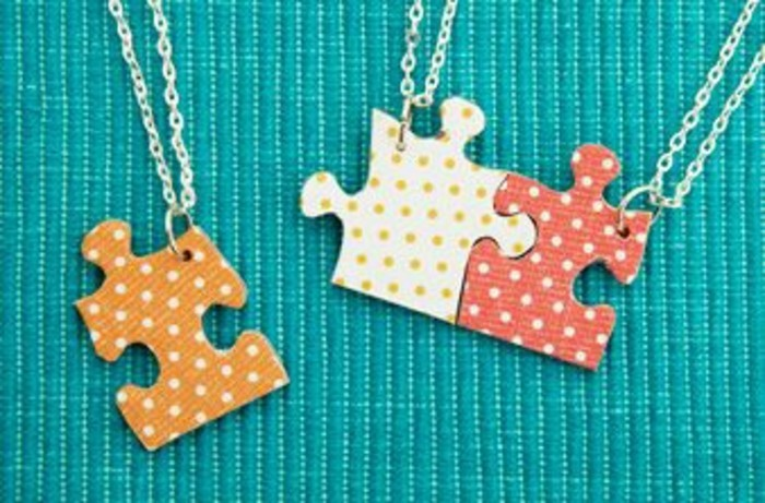best friend birthday gifts, three pendants made from colorful jigsaw puzzle pieces, hanging on thin silver chains