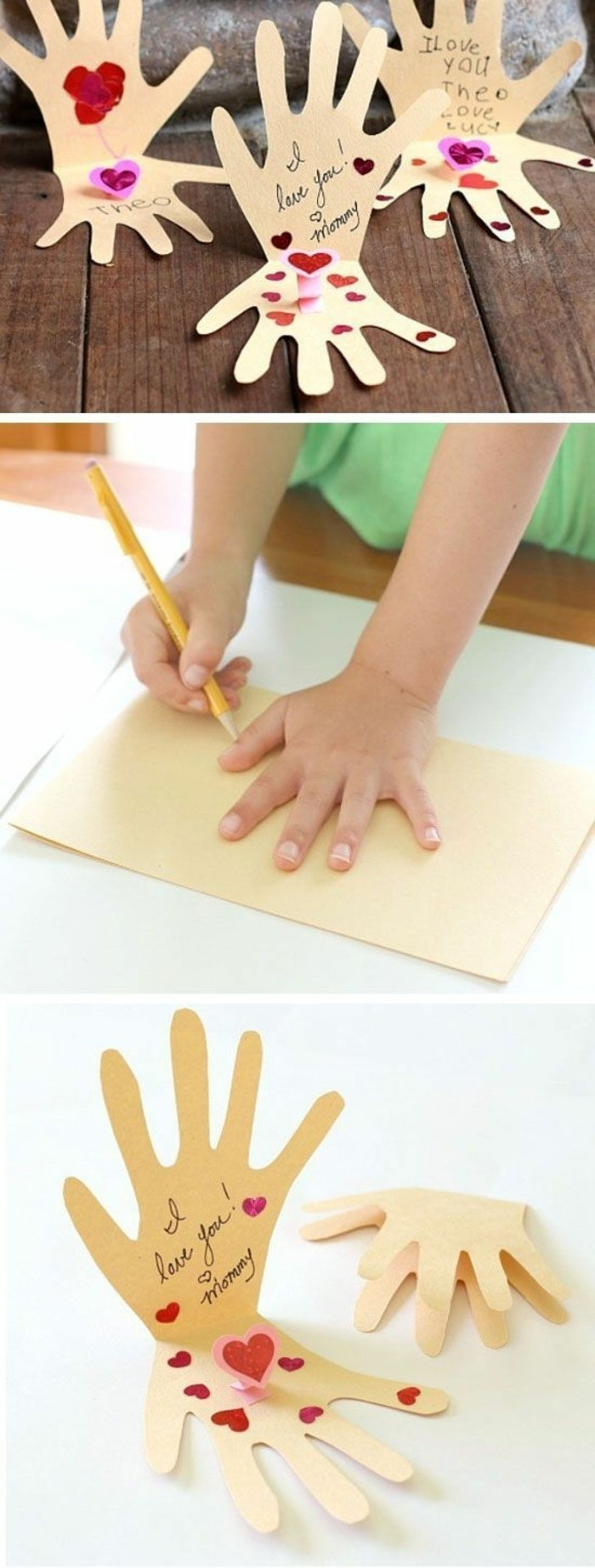 three mother's day cards, made from hand-shaped cutouts, child tracing their hand on paper, two finished cards