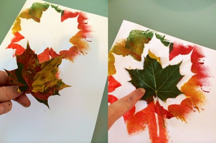 cool things to make at home, hand holding painted leaf over white peace of paper with leaf-shape, finger pressing the painted leaf over the paper