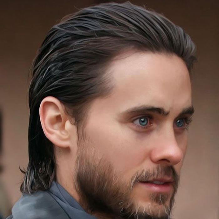 digital painting of Jared Leto, smiling with slicked back dark hair, beard and mustache