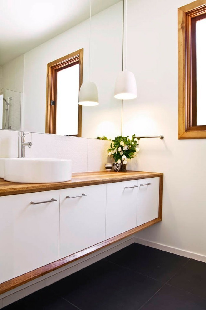 remodeling ideas, black floor tiles, white wall-mounted cupboard with sink, large wall mirror and hanging lamp