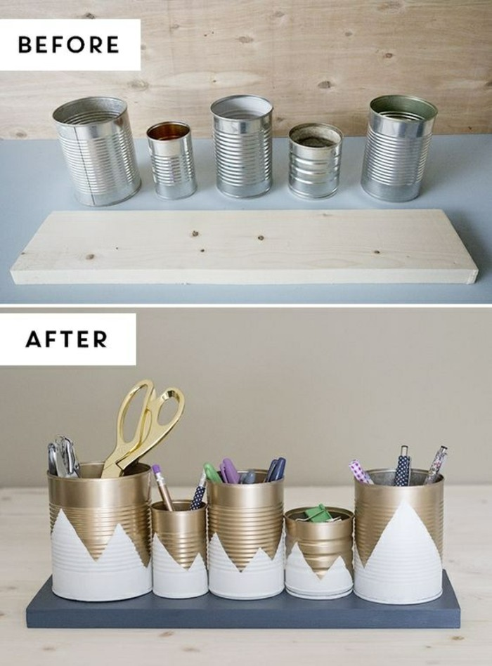 tin can projects, five differently sized tins and plain plank, next picture shows the cans decorated with gold and white paint and stuck to the now painted plank, containing pencils and stationary