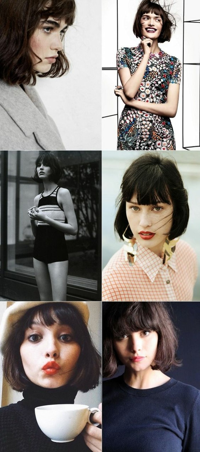 cute short haircuts, six images of women with dark brown and black retro bobs with bangs, seen from different angles, and wearing different clothes