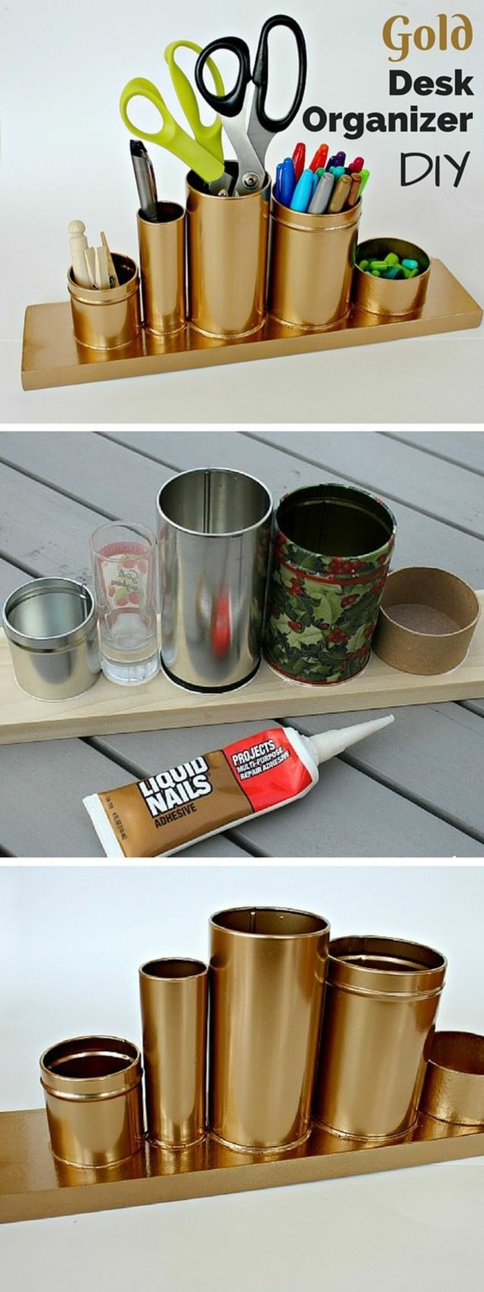aluminum tins, desk organizer made from differently sized cans, round boxes and a glass, stuck on a wooden plank, all spray painted with copper metallic paint
