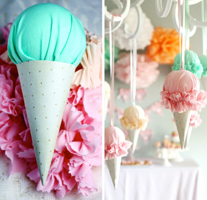 summer craft ideas, ice cream cone decoration, made from turquoise, and grey polka-dot printed fabric, next photo shows more similar decorations, hanging from white ribbons