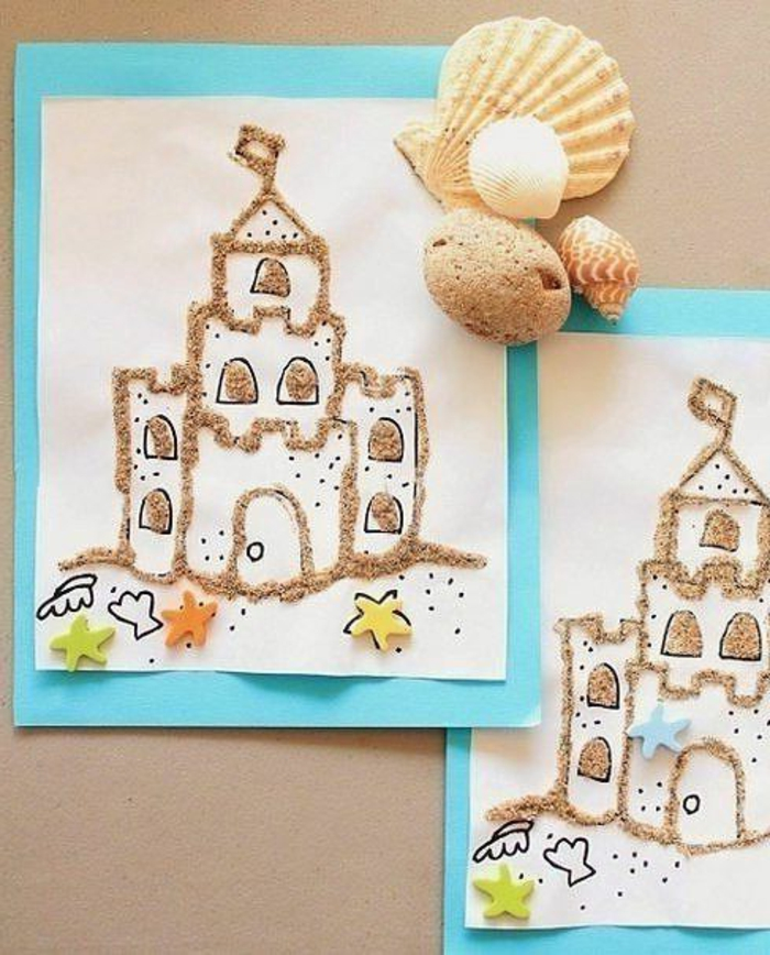 easy fun diys, two identical black and white drawings of a castle, decorated with real sand, and colorful felt star cutouts, on white and teal background, three seashells and a stone placed on top