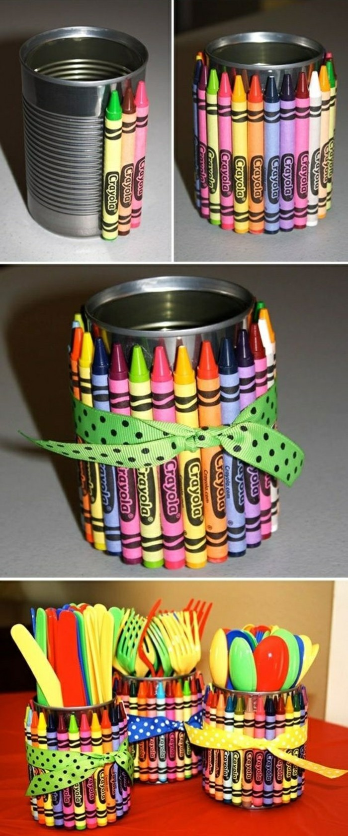 tin cans, aluminium cans decorated with colored crayons, tied with green ribbon with black polkadots, containing plastic cutlery in different colors