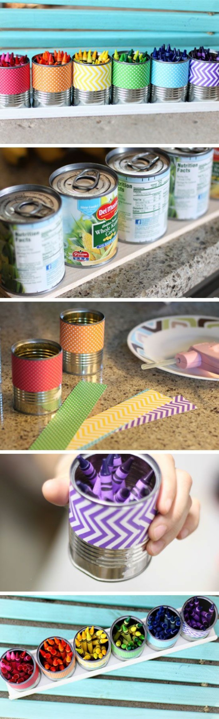 tin can crafts, six aluminium cans, decorated with paper in different colors, containing crayons in corresponding colors