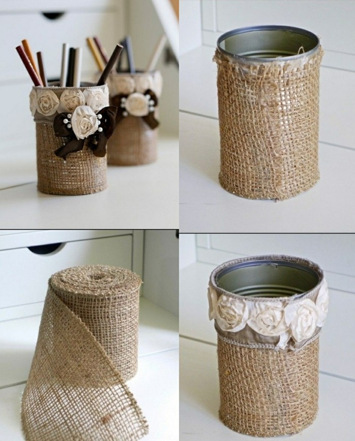 tin can crafts, two tin cans wrapped in burlap, decorated with fabric roses and brown bows, containing colored pencils