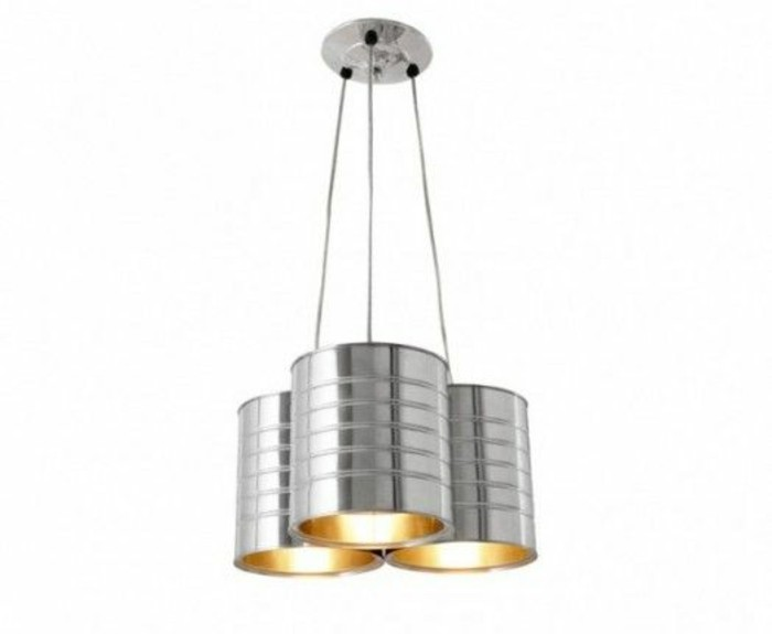 aluminum tins, lamp made from three aluminium tins, hanging on power cords, attached to the ceiling