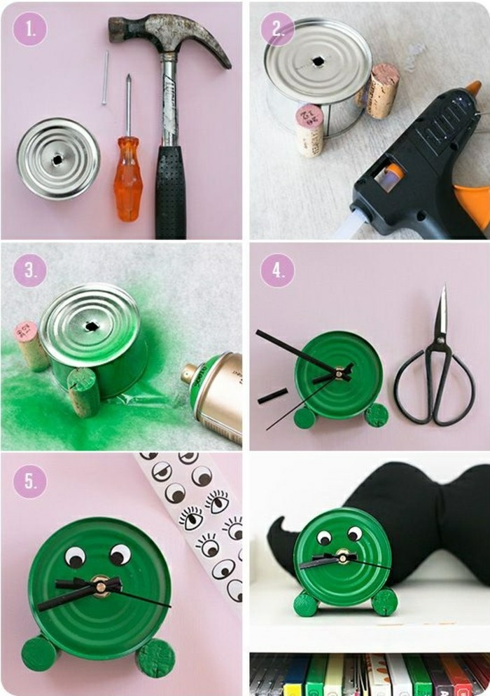 aluminum tins, tin placed near hammer, screwdriver and nail, with cork bottle stoppers stuck to it, spray-painted with green paint, decorated with eye stickers and made into a clock