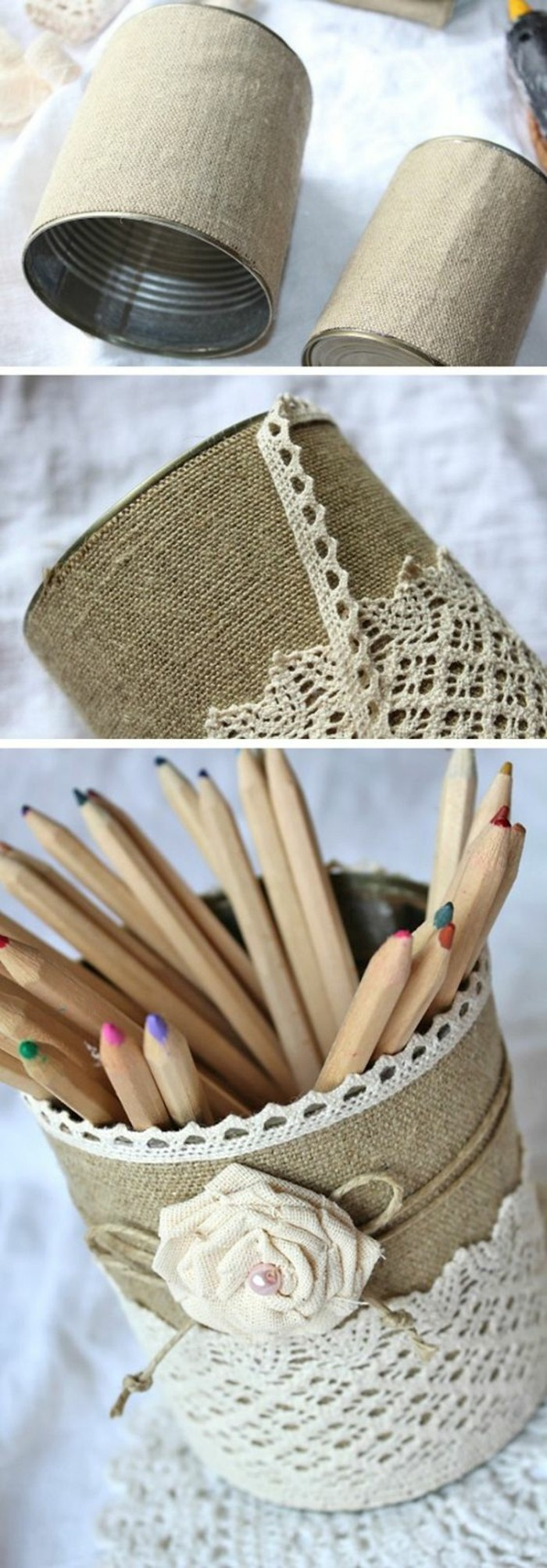 tin cans, two cans covered with burlap, decorated with lace, string and a fabric rose, containing colored pencils