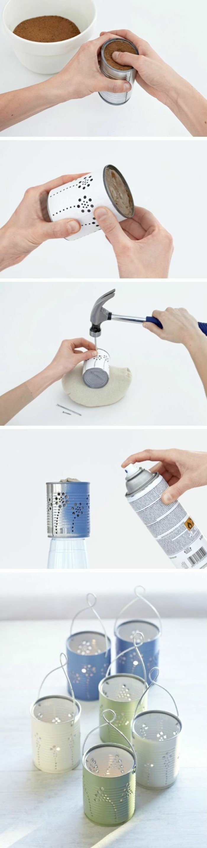 empty tin cans, six luminaries made from cans colored in light green and blue, hands filling can with dirt, making holes following a pattern with nail and hammer, spraying can with blue paint