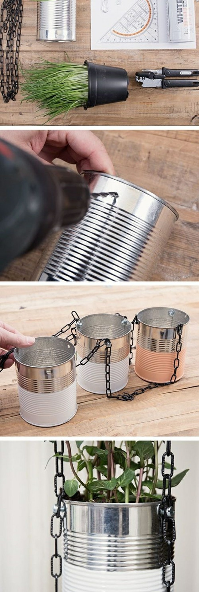 tin can crafts, aluminium can and green potted plant, black chain and ruler, near metal pliers, person making holes in can with drill, attaching three cans together with chain, close up of a can with plant inside