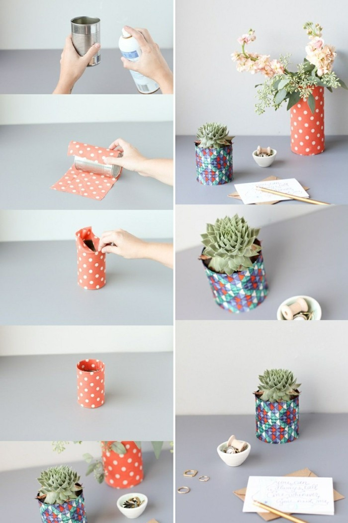 tin cans, step by step photo tutorial, explaining how to make a plant pot and vase, using cans and paper