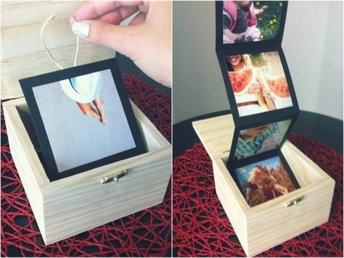 long distance friendship gifts, hand holding string attached to black cardboard with a photo, inside a small wooden box, next photo shows the cardboard unfolding to show more photos