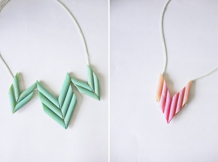 gifts for best friends, two images of macaroni necklaces, one painted turquoise and one painted pink, on thin silver chains