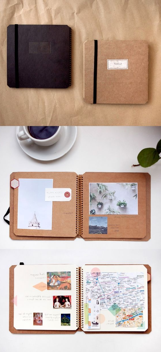 two note books, one black one beige, craft ideas, open note books, with white and light brown pages, revealing photos and text