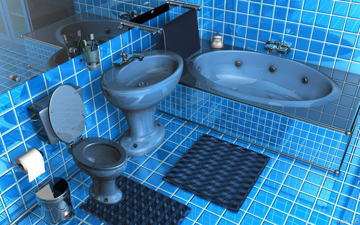 small bathroom ideas, bathroom with blue tiles on floor and walls, containing blue inbuilt tub, blue toilet seat and sink, large wall mirror