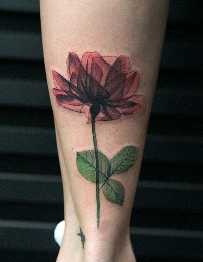 flower tattoo designs, tattoo of a rose on a stalk, with red see-through petals and leaves, on someone's lower leg