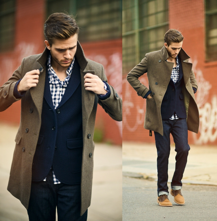 brown woolen winter coat, worn over navy blazer, blue and white chequered shirt, and dark denim jeans, by young man with beige shoes, business casual men, seen from two angles