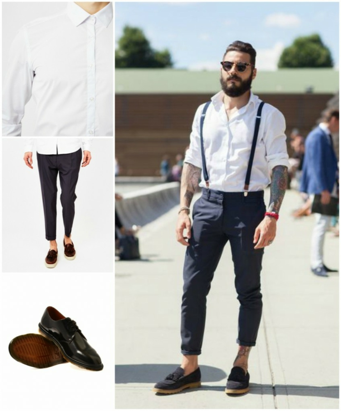 white shirt and black carrot pants, black patent leather shoes, bearded man with tattoos and sunglasses, wearing shirt and pants with suspenders, and navy suede loafers, business casual shoes