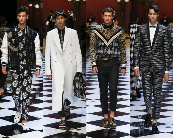 haute couture for men, four catwalk models, wearing clothing with botanical and animal prints, oversized white coat, unusual polka dot suit