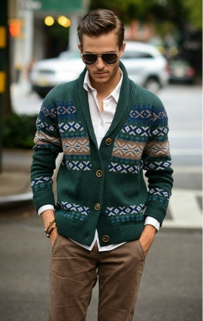 patterned green chunky knitted cardigan, worn over white shirt, and beige pants, business casual dress code, on young man with sunglasses