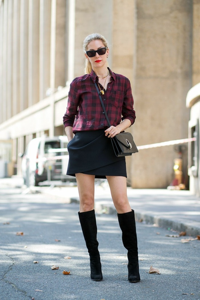 women business casual, dark pink and black plaid shirt, tucked into black wrap-over skirt, worn by blond woman with ponytail, sunglasses and black boots