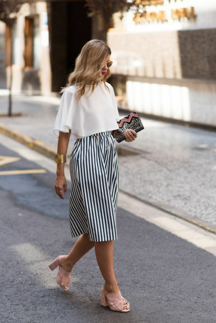 dress attire, white cropped top with floaty short sleeves, worn with striped midi skirt, and pale pink peep-toe mules, by blonde woman in sunglasses, holding small clutch