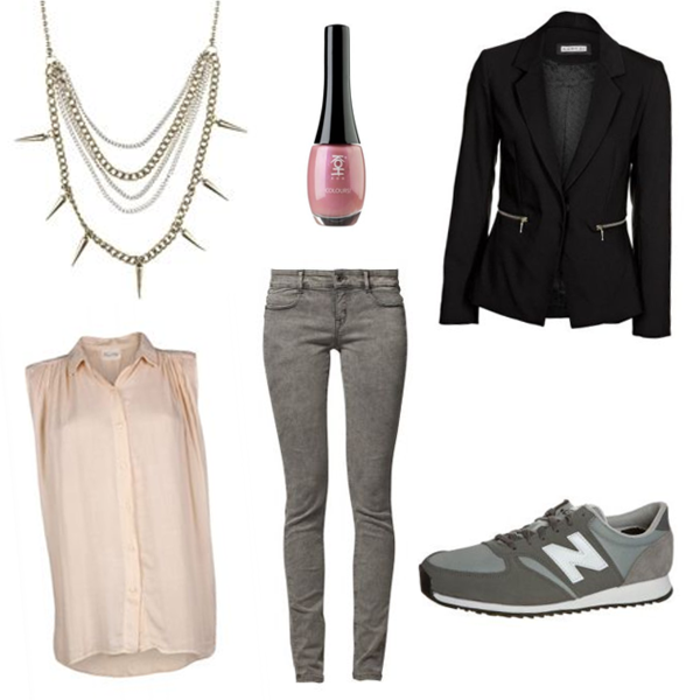 business casual for young women, chain necklace with spikes, bottle of pink nail polish, black blazer with zip detail pockets, pale pink sleeveless shirt, light grey skinny jeans, and grey and white sneakers