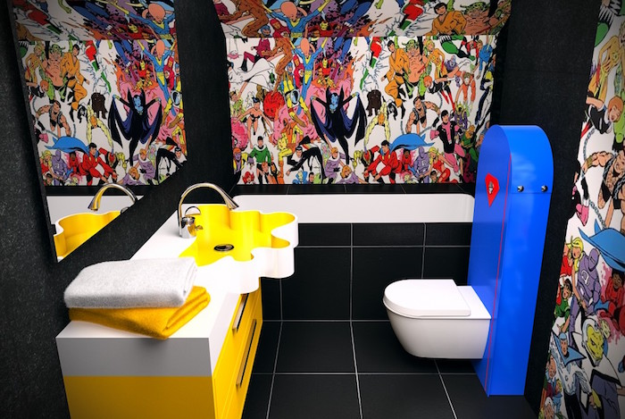 small bathroom ideas, toilet with black tiles on the floor, black walls with three canvases, showing many colorful comic book heroes, white and yellow cupboard with sink, blue and white toilet seat