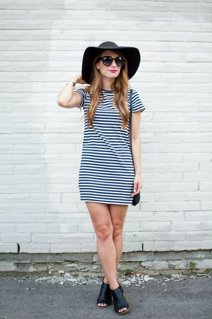 women business casual, white and navy striped t-shirt, worn by blonde woman with sunglasses, large felt hat and black peep toe mules